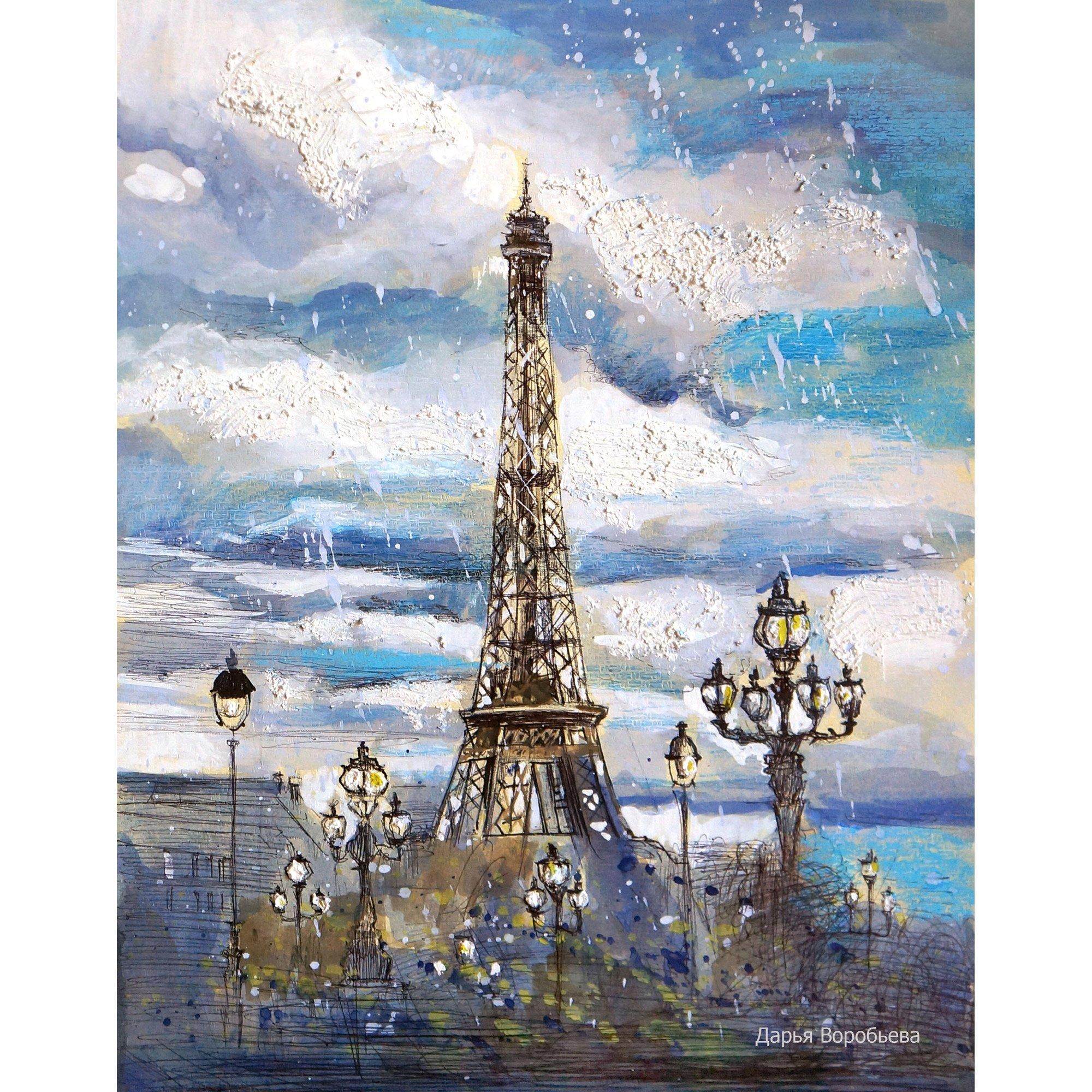 Картина «Дождливый Париж» (Импрессионизм, Пейзаж ...  Дождливый Город Картина
