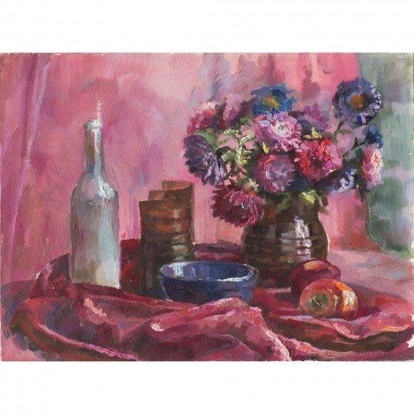 Розовый натюрморт Каплиева Мария