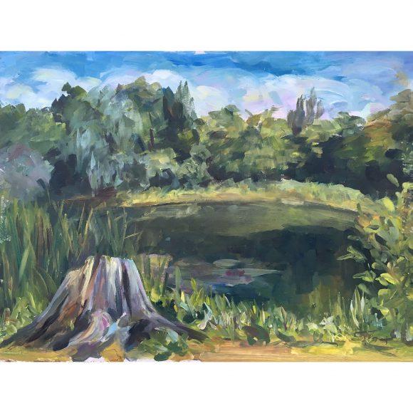 Пень у озера