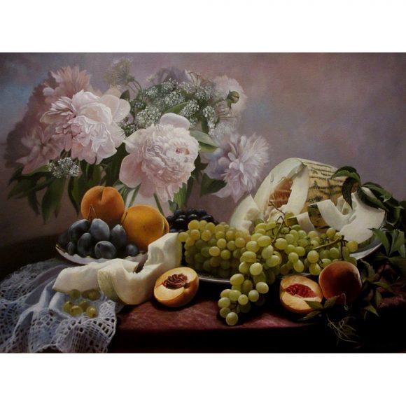 Натюрморт с пионами, дыней и фруктами Дыдышко Олег