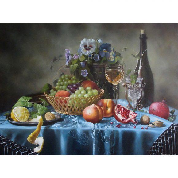 Натюрморт с цветами, вином и фруктами Дыдышко Олег