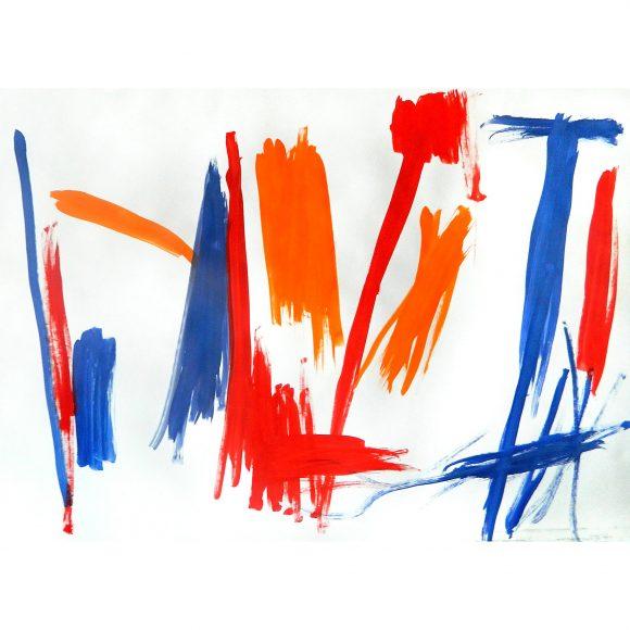 Red Orange Blue Art Simia