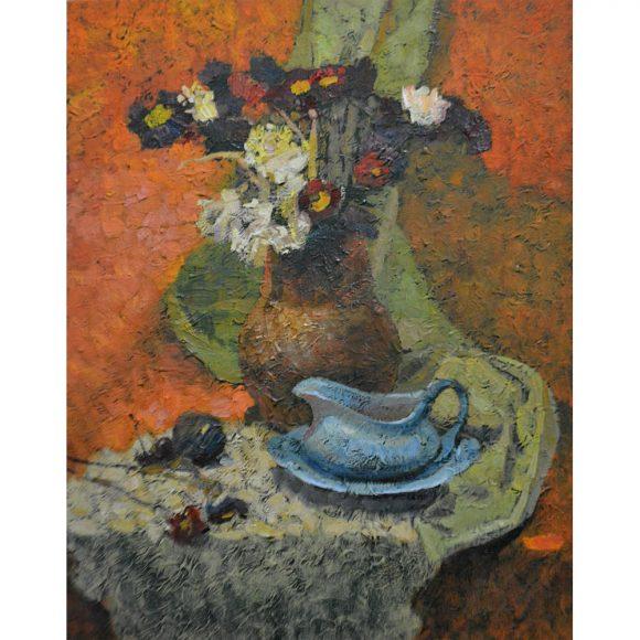 Цветы в глиняном кувшине