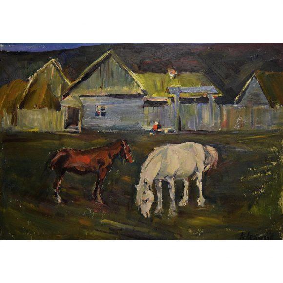 Две лошадки на деревенской улице Лежников Юрий
