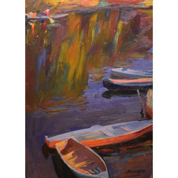 Лодки  у берега Лежников Юрий
