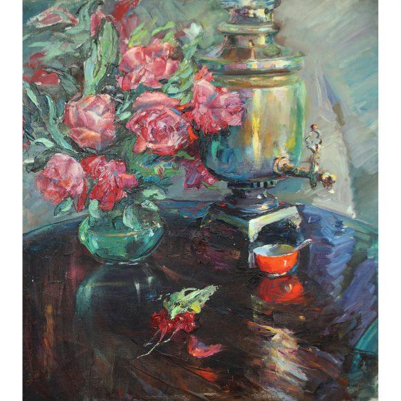 Натюрморт с самоваром и цветами на столе