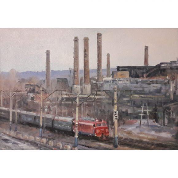 Пейзаж с красным локомотивом Бендер Валерий