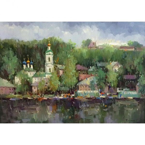 Картина «Плес - дождливый день» (Импрессионизм, Пейзаж ...  Дождливый Город Картина