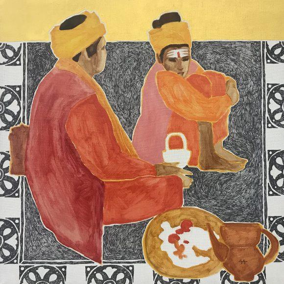Вдовы в тюрбанах желтых на ковре черном Ива Ирина